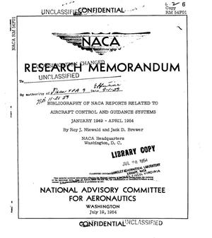 Primary view of object titled 'Bibliography of NACA reports related to aircraft control and guidance systems January 1949 - April 1954'.