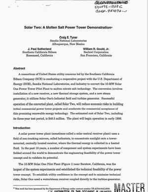 Primary view of object titled 'Solar two: A molten salt power tower demonstration'.