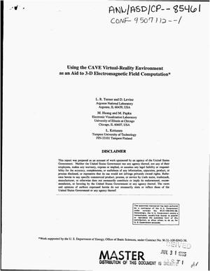 Primary view of object titled 'Using the CAVE virtual-reality environment as an aid to 3-D electromagnetic field computation'.