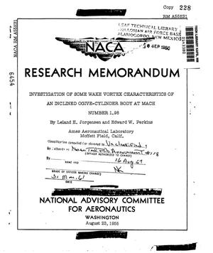 Primary view of object titled 'Investigation of some wake vortex characteristics of an inclined ogive-cylinder body at Mach number 1.98'.