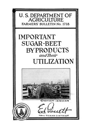 Primary view of object titled 'Important sugar-beet byproducts and their utilization.'.
