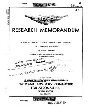 Primary view of object titled 'A bibliography of NACA reports on control of turbojet engines'.