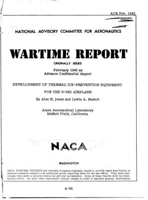 Primary view of object titled 'Development of thermal ice-prevention equipment for the B-24D airplane'.