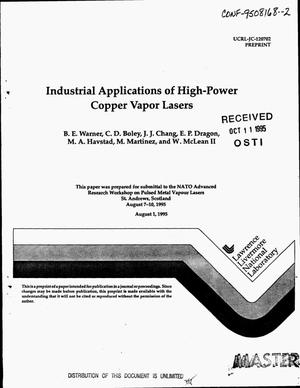 Primary view of object titled 'Industrial applications of high-power copper vapor lasers'.