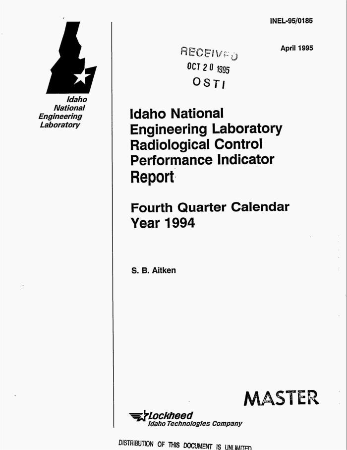 Idaho National Engineering Laboratory Radiological Control