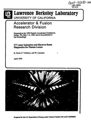 Primary view of object titled 'UV laser ionization and electron beam diagnostics for plasma lenses'.