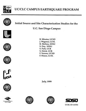 Primary view of object titled 'Initial source and site characterization studies for the U. C. San Diego campus'.