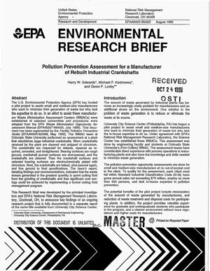 Primary view of object titled 'Environmental Research Brief: Pollution prevention assessment for a manufacturer of rebuilt industrial crankshafts'.