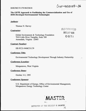 Primary view of object titled 'The GETE approach to facilitating the commercialization and use of DOE-developed environmental technologies'.