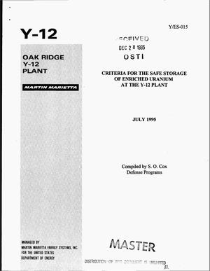 Primary view of object titled 'Criteria for the safe storage of enriched uranium at the Y-12 Plant'.