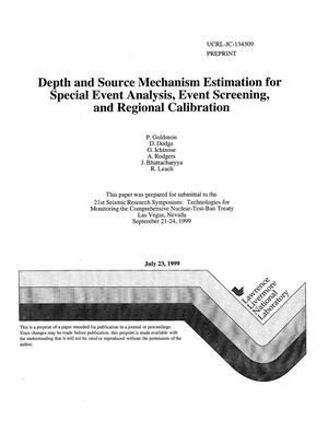 Primary view of object titled 'Depth and source mechanism estimation for special event analysis, event screening, and regional calibration'.