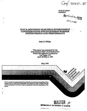 Primary view of object titled 'Yucca Mountain near-field environment considerations for engineered barrier system design and performance'.