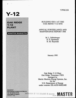 Primary view of object titled 'Building 9201-4 at the Oak Ridge Y-12 Site annual surveillance and maintenance report 1994'.