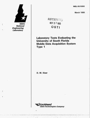 Primary view of object titled 'Laboratory tests evaluating the University of South Florida Mobile Data Acquisition System, Type 1'.