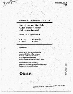 Primary view of object titled 'Special nuclear materials cutoff exercise: Issues and lessons learned, Volume 2 of 3: Appendixes A - C'.