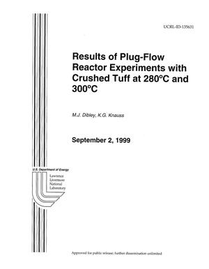 Primary view of object titled 'Results of plug-flow reactor experiments with crushed tuff at 280C and 300C'.
