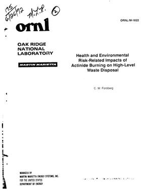 Primary view of object titled 'Health and environmental risk-related impacts of actinide burning on high-level waste disposal'.