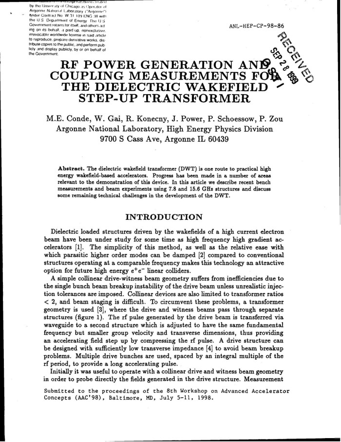 RF power generation and coupling measurements for the dielectric