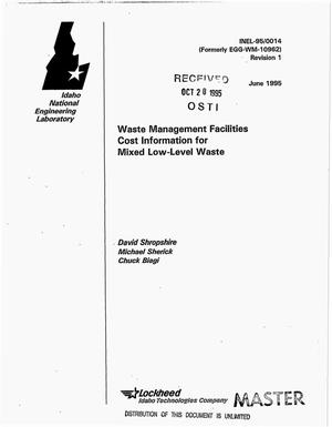 Primary view of object titled 'Waste Management Facilities cost information for mixed low-level waste. Revision 1'.