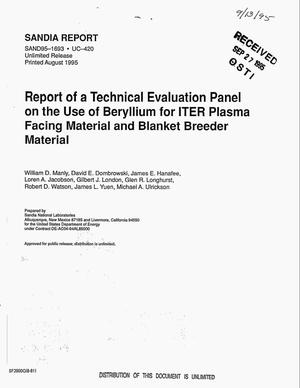 Primary view of object titled 'Report of a technical evaluation panel on the use of beryllium for ITER plasma facing material and blanket breeder material'.