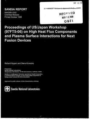 Primary view of object titled 'Proceedings of US/Japan Workshop (97FT5-06) on High Heat Flux Components and Plasma Surface Interactions for Next Fusion Devices'.