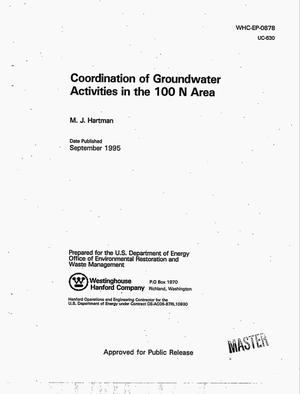 Primary view of object titled 'Coordination of groundwater activities in the 100 N Area'.