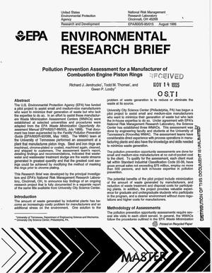 Primary view of object titled 'Pollution prevention assessment for a manufacturer of combustion engine piston rings'.