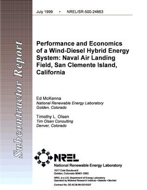 Primary view of object titled 'Performance and Economics of a Wind-Diesel Hybrid Energy System: Naval Air Landing Field, San Clemente Island, California'.