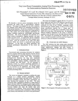 Primary view of object titled 'Very Low-Power Consumption Analog Pulse Processing ASIC for Semiconductor Radiation Detectors'.