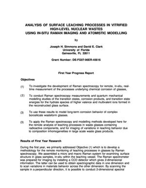 Primary view of object titled 'Analysis of surface leaching processes in vitrified high-level nuclear wastes using in-situ raman imaging and atomistic modeling. 1997 annual progress report'.