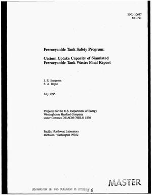 Primary view of object titled 'Ferrocyanide tank safety program: Cesium uptake capacity of simulated ferrocyanide tank waste. Final report'.