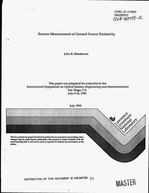 Primary view of object titled 'Remote measurement of ground source emissivity'.