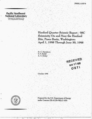 Primary view of object titled 'Hanford Quarter Seismic Report - 98C Seismicity On and Near the Hanford Site, Pasco Basin, Washington: April 1, 1998 Through June 30, 1998'.