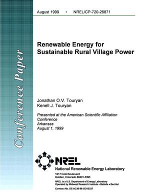 Primary view of object titled 'Renewable Energy for Sustainable Rural Village Power'.