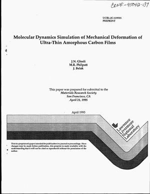 Primary view of object titled 'Molecular dynamics simulation of mechanical deformation of ultra-thin amorphous carbon films'.