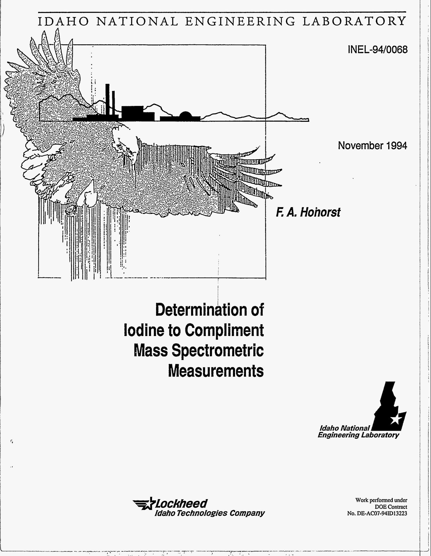 Determination of iodine to compliment mass spectrometric measurements                                                                                                      [Sequence #]: 1 of 12