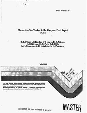 Primary view of object titled 'Clementine Star Tracker Stellar Compass: Final report part 2'.
