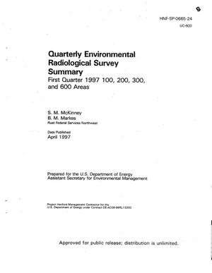 Primary view of object titled 'Quarterly environmental radiological survey summary - first quarter 1997 100, 200, 300, and 600 areas'.