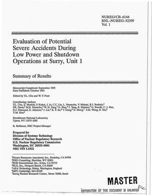 Primary view of object titled 'Evaluation of potential severe accidents during low power and shutdown operations at Surry: Unit 1, Volume 1'.