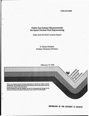 Primary view of object titled 'Noble gas isotope measurements for spent nuclear fuel reprocessing. IAEA Task 90/0A211 interim report'.