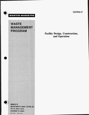 Primary view of object titled 'Facility design, construction, and operation'.