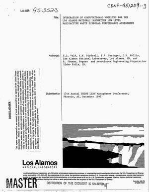 Primary view of object titled 'Integration of computational modeling for the Los Alamos National Laboratory low level radioactive waste disposal performance assessment'.
