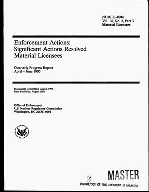 Primary view of object titled 'Enforcement actions: Significant actions resolved material licensees. Quarterly progress report, April 1995--June 1995'.