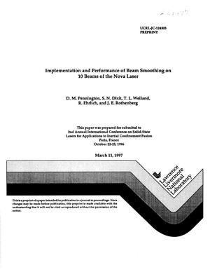 Primary view of object titled 'Implementation and performance of beam smoothing on 10 beams of the Nova Laser'.