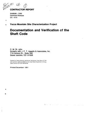 Primary view of object titled 'Documentation and verification of the SHAFT code; Yucca Mountain Site Characterization Project'.