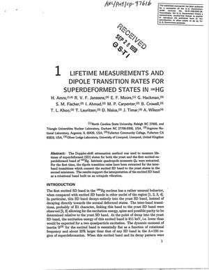 Primary view of object titled 'Lifetime measurements and dipole transition rates for superdeformed states in {sup 190}Hg.'.