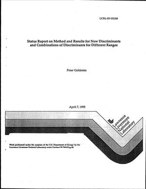 Primary view of object titled 'Status report on method and results for new discriminants and combinations of discriminants for different ranges'.