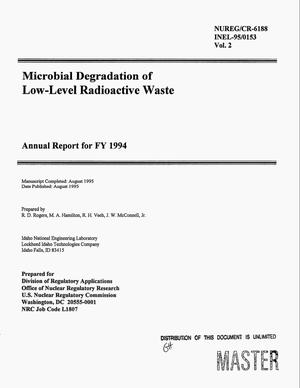 Primary view of object titled 'Microbial degradation of low-level radioactive waste. Volume 2, Annual report for FY 1994'.