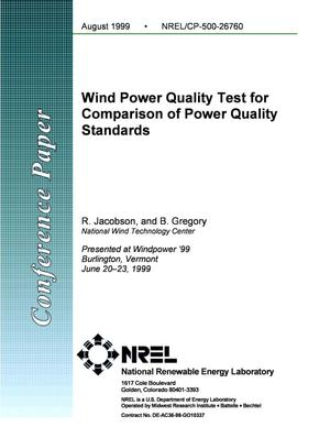 Primary view of object titled 'Wind Power Quality Test for Comparison of Power Quality Standards'.