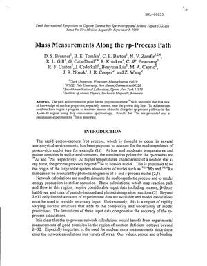 Primary view of object titled 'MASS MEASUREMENTS ALONG THE RP-PROCESS PATH.'.